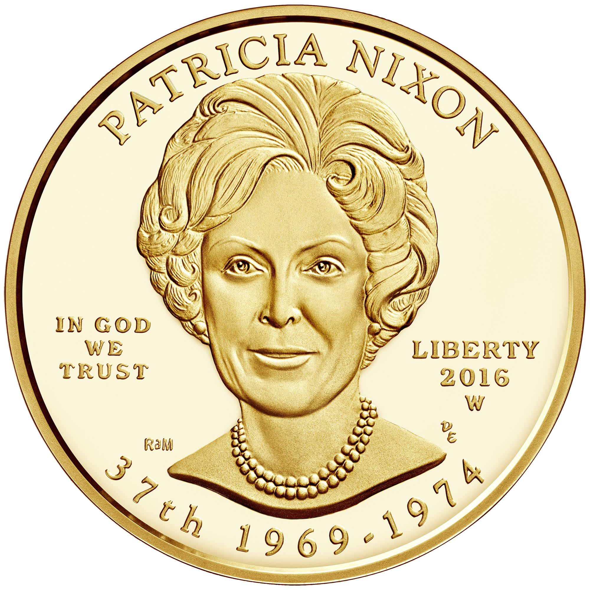 2016 First Spouse Gold Coin Patricia Nixon Proof Obverse