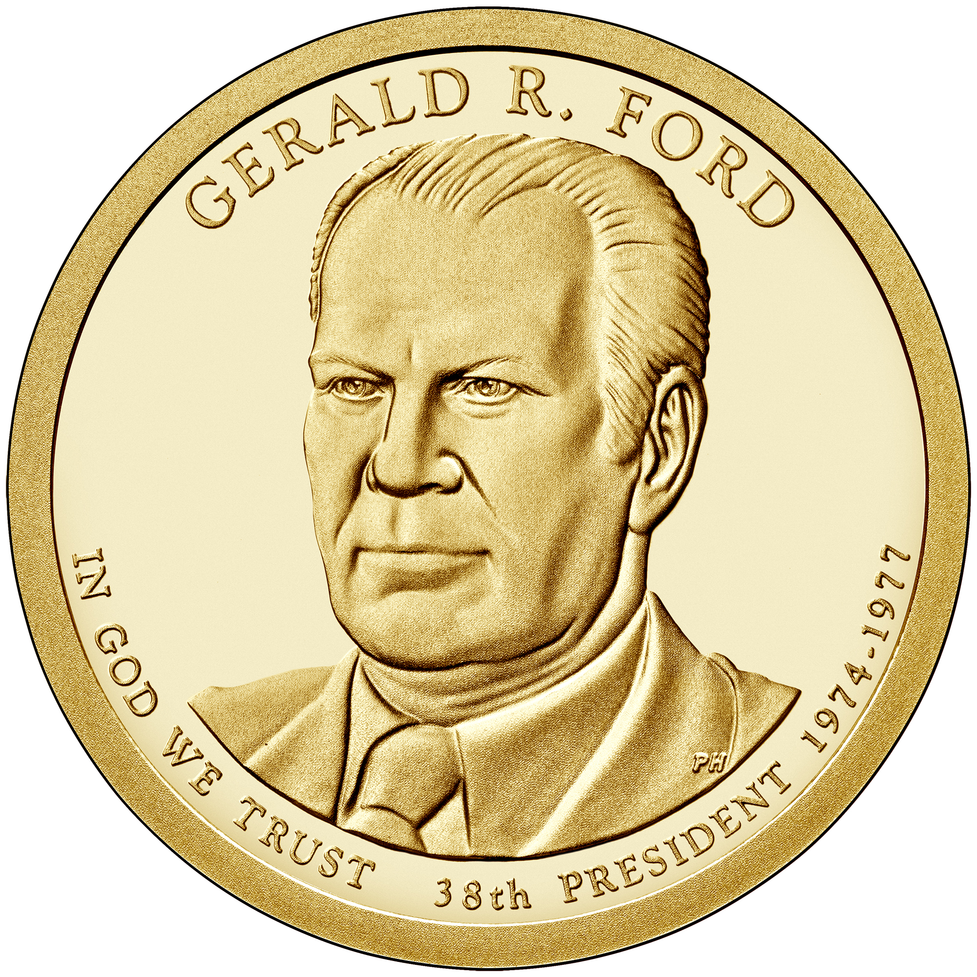 2016 Presidential Dollar Coin Gerald R. Ford Proof Obverse