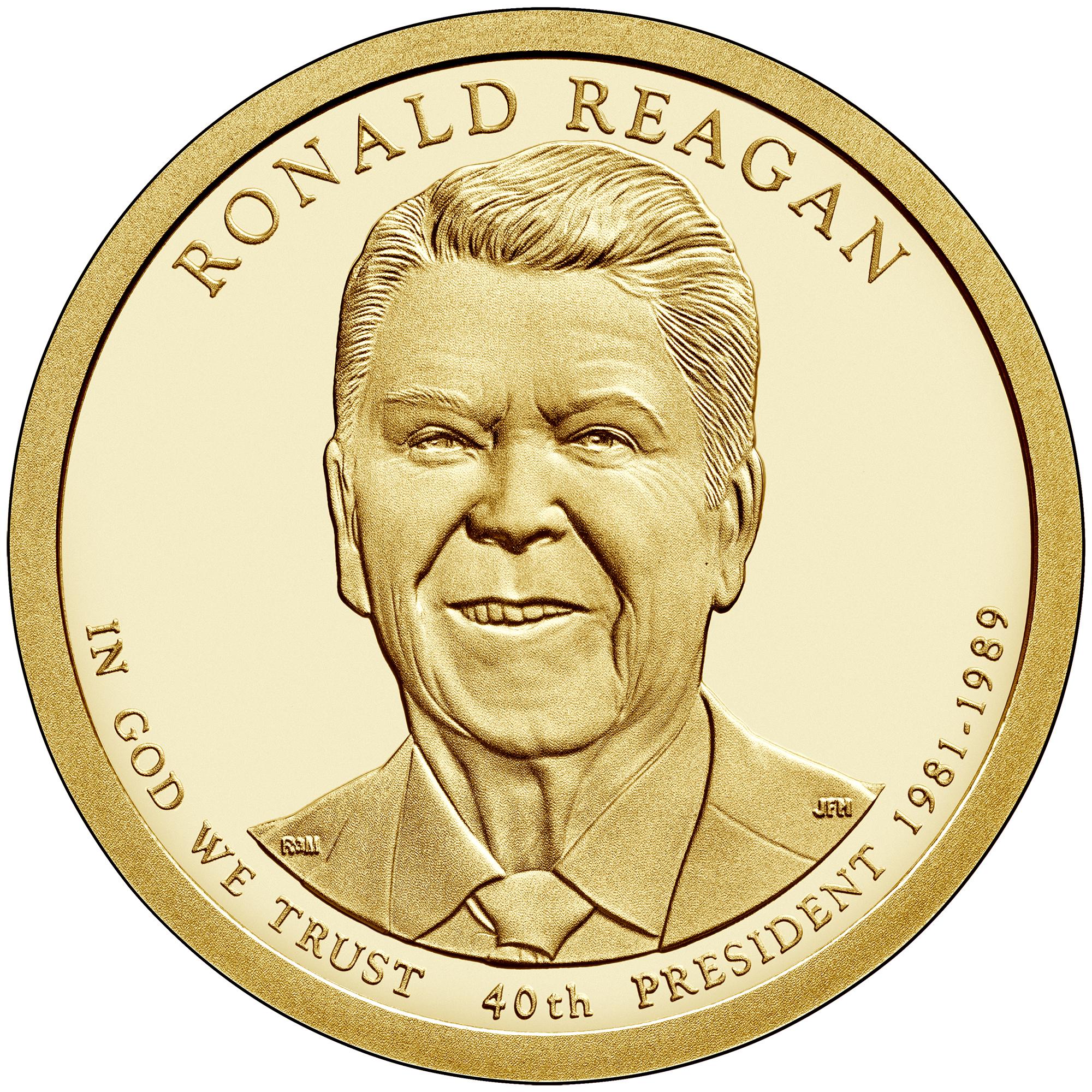 2016 Presidential Dollar Coin Ronald Reagan Proof Obverse