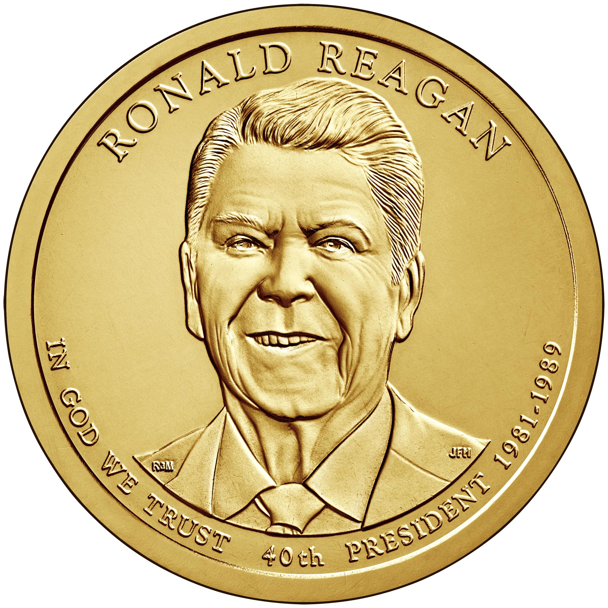 2016 Presidential Dollar Coin Ronald Reagan Uncirculated Obverse