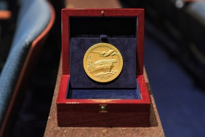 Doolittle Tokyo Raiders Congressional Gold Medal in presentation case. Photo courtesy of House Speaker Boehner's office.