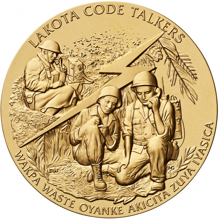 2008 Code Talkers Cheyenne River Sioux Tribe Bronze Three Inch Medal Obverse