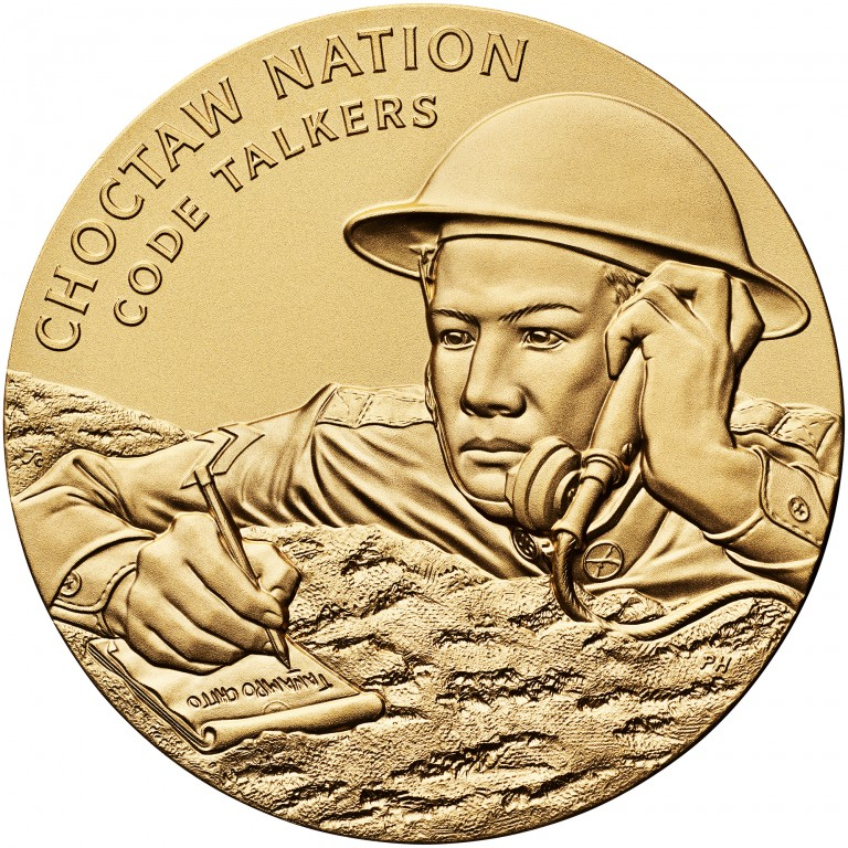 2008 Code Talkers Choctaw Nation Bronze Three Inch Medal Obverse