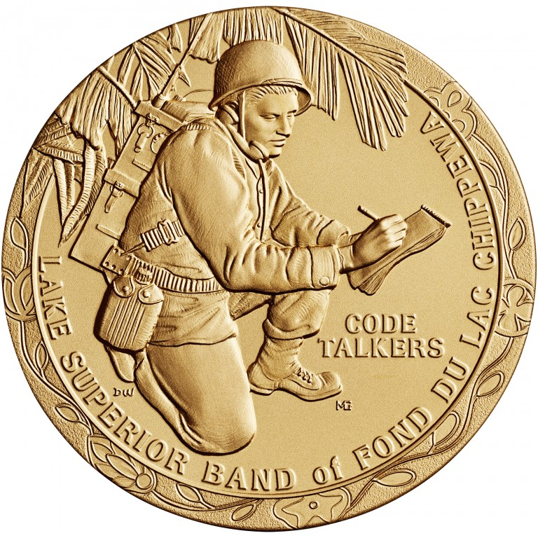 2008 Code Talkers Fond Du Lac Tribe Bronze Three Inch Medal Obverse