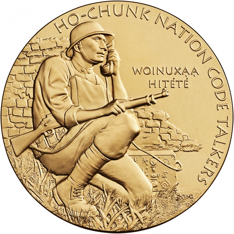 2008 Code Talkers Ho Chunk Nation Bronze Three Inch Medal Obverse