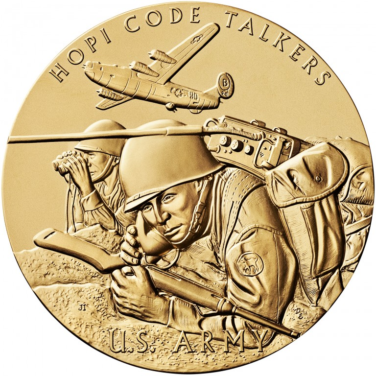2008 Code Talkers Hopi Tribe Bronze Three Inch Medal Obverse