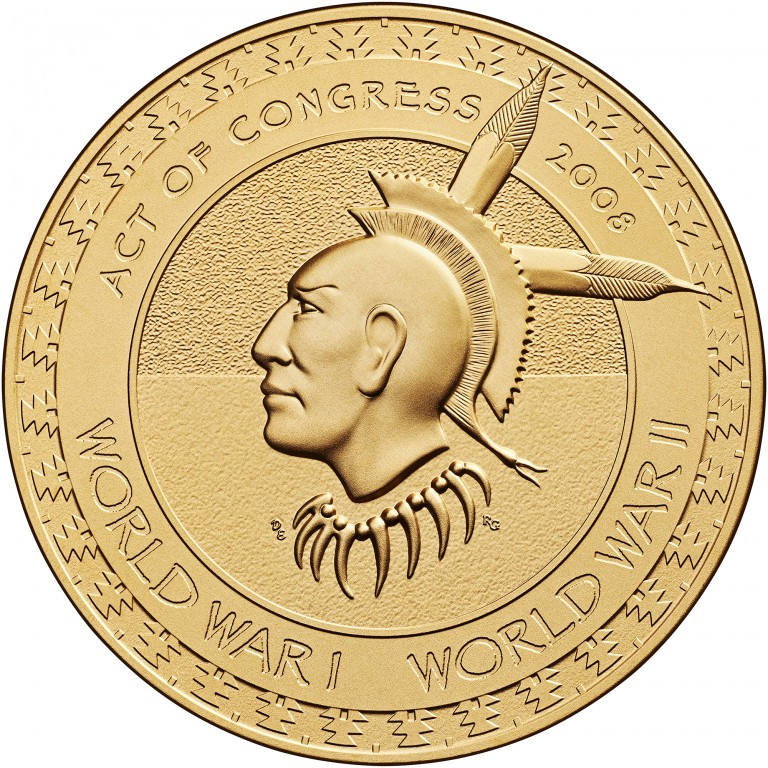 2008 Code Talkers Meskwaki Nation Bronze Three Inch Medal Reverse