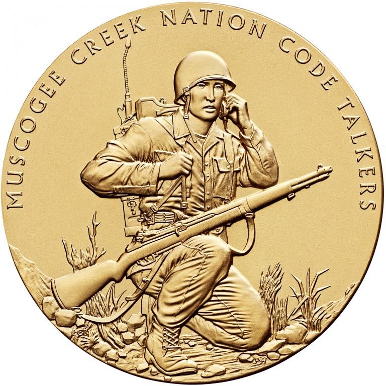 2008 Code Talkers Muscogee Creek Nation Bronze Three Inch Medal Obverse
