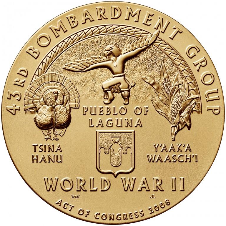 2008 Code Talkers Pueblo Of Laguna Tribe Bronze Three Inch Medal Reverse