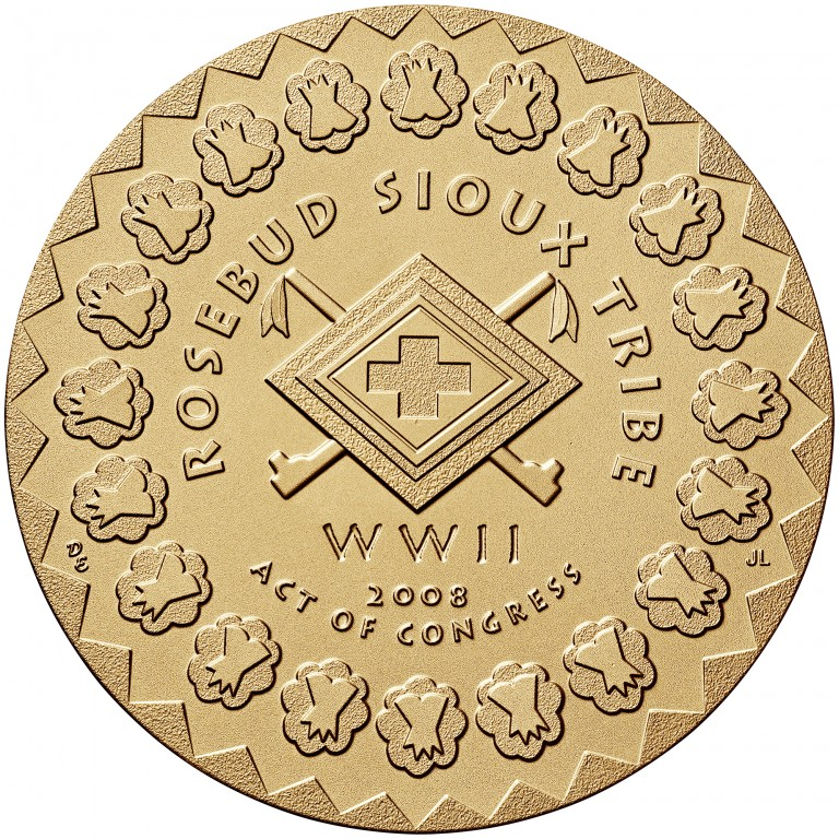 2008 Code Talkers Rosebud Sioux Tribe Bronze Three Inch Medal Reverse