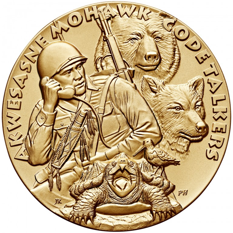 2008 Code Talkers Saint Regis Mohawk Tribe Bronze Three Inch Medal Obverse