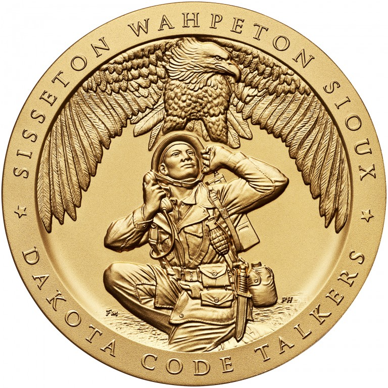 2008 Code Talkers Sisseton Wahpeton Oyate Sioux Tribe Bronze Three Inch Medal Obverse