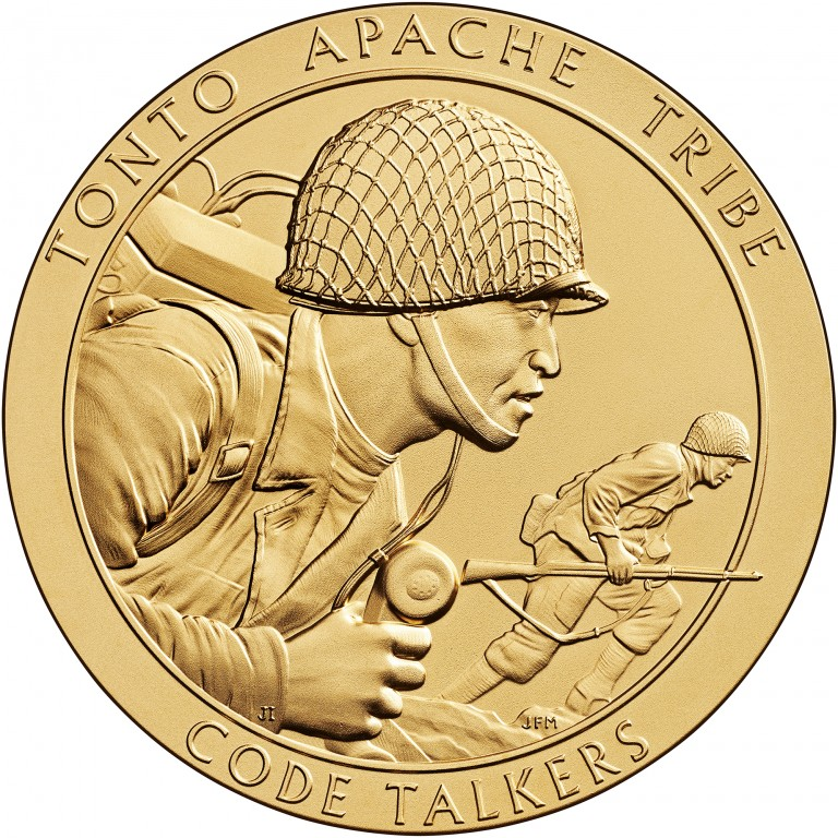2008 Code Talkers Tonto Apache Tribe Bronze Three Inch Medal Obverse