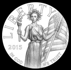 Line drawing of the obverse selected for the 2015 High Relief Gold Coin.