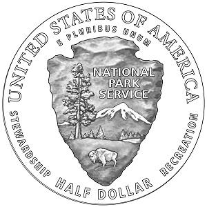 National Park Service Centennial Half-Dollar Clad Coin (line art-reverse)