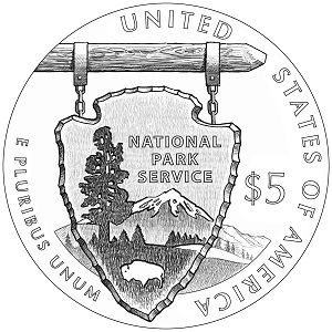 National Park Service Centennial $5 Gold Proof Coin (line art-reverse)