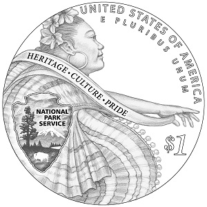 National Park Service Centennial $1 Silver Proof Coin (line art-reverse)