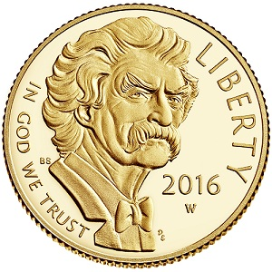 Mark Twain Commemorative $5 Gold Proof Coin (obverse)