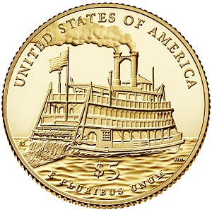 Mark Twain Commemorative  $5 Gold Proof Coin (reverse)