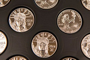A tray of 2014 American Eagle Platinum Proof Coins