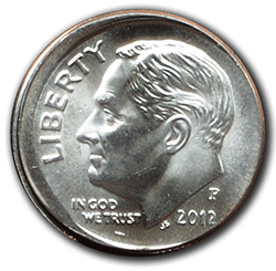 A 2012 Dime demonstrates a broad strike defect