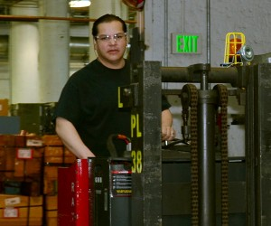 David Chavez operates a fork lift at the Denver Mint.