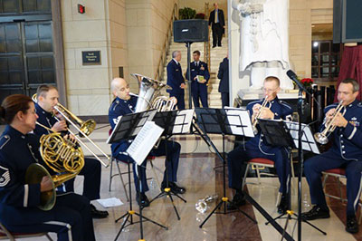 The Air Force Brass Quintet plays at the award ceremony.