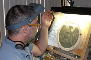 Sculptor-Engraver Michael Gaudioso works on a Code Talkers medal.