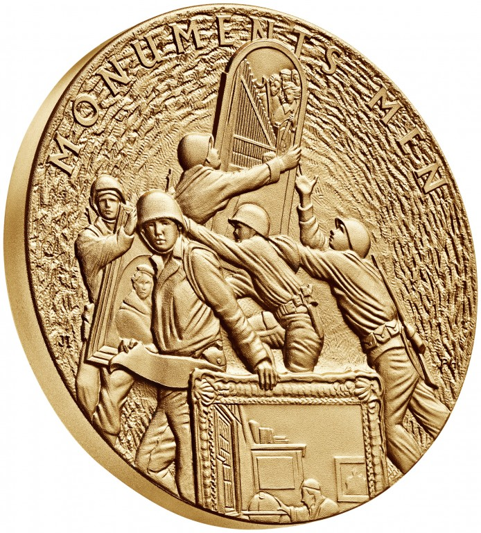 2015 Monuments Men Bronze Medal Three Inch Obverse Angle
