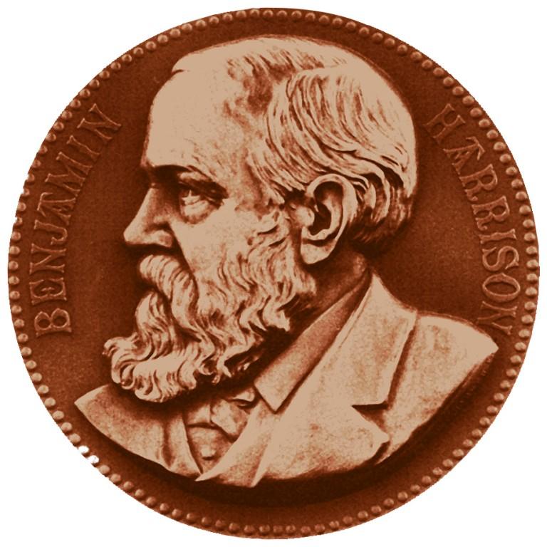 Benjamin Harrison Presidential Bronze Medal Obverse