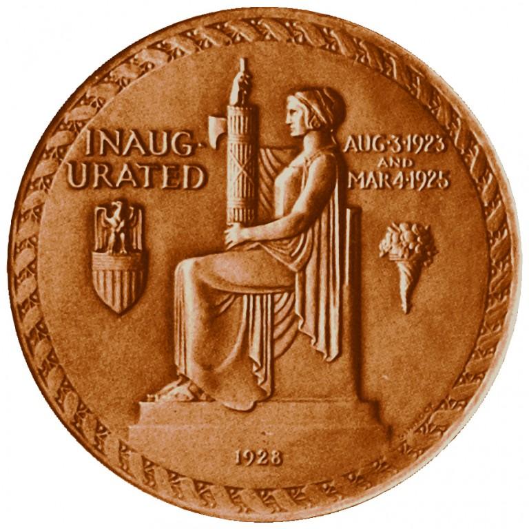 Calvin Coolidge Presidential Bronze Medal Reverse