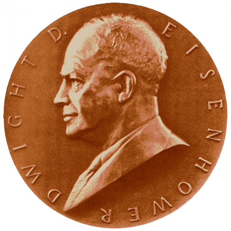 Dwight D Eisenhower Term 1 Presidential Bronze Medal Obverse