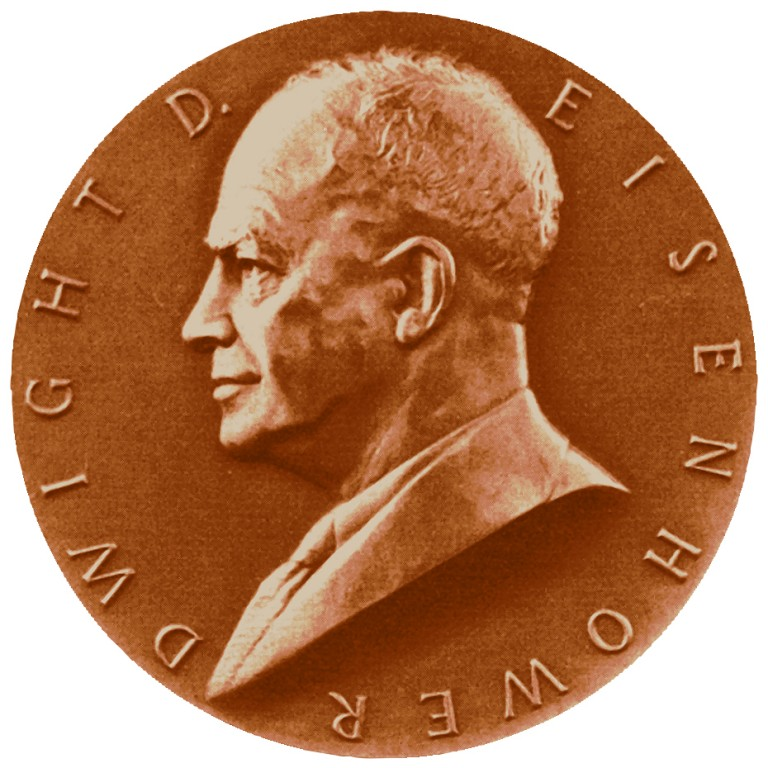 Dwight D Eisenhower Term 2 Presidential Bronze Medal Obverse