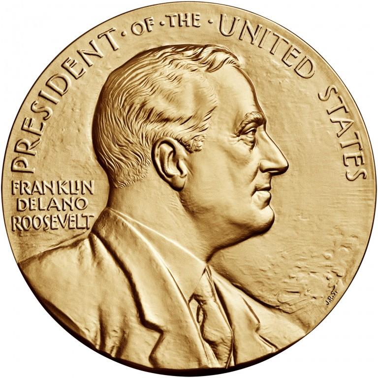 Franklin D Roosevelt Presidential Bronze Medal Three Inch Obverse
