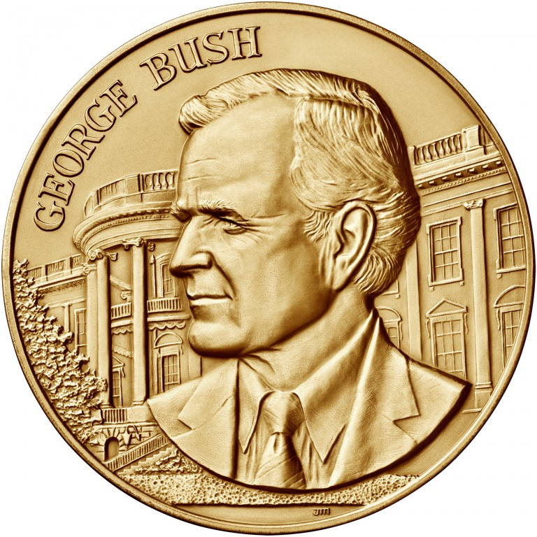 George H W Bush Presidential Bronze Medal Three Inch Obverse