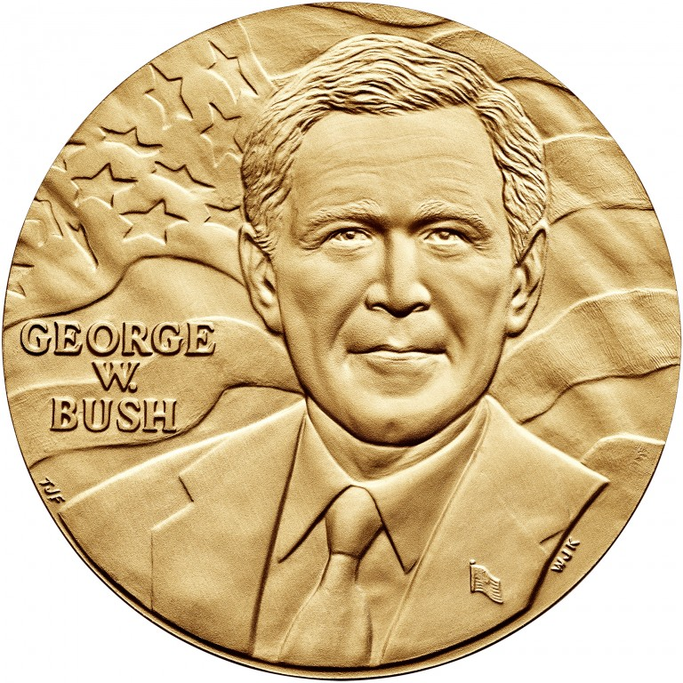 George W Bush Term 1 Presidential Bronze Medal Three Inch Obverse
