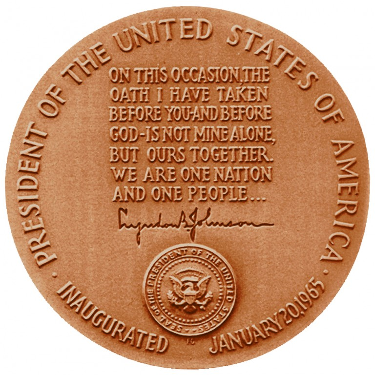 Lyndon B Johnson Term 2 Presidential Bronze Medal Reverse