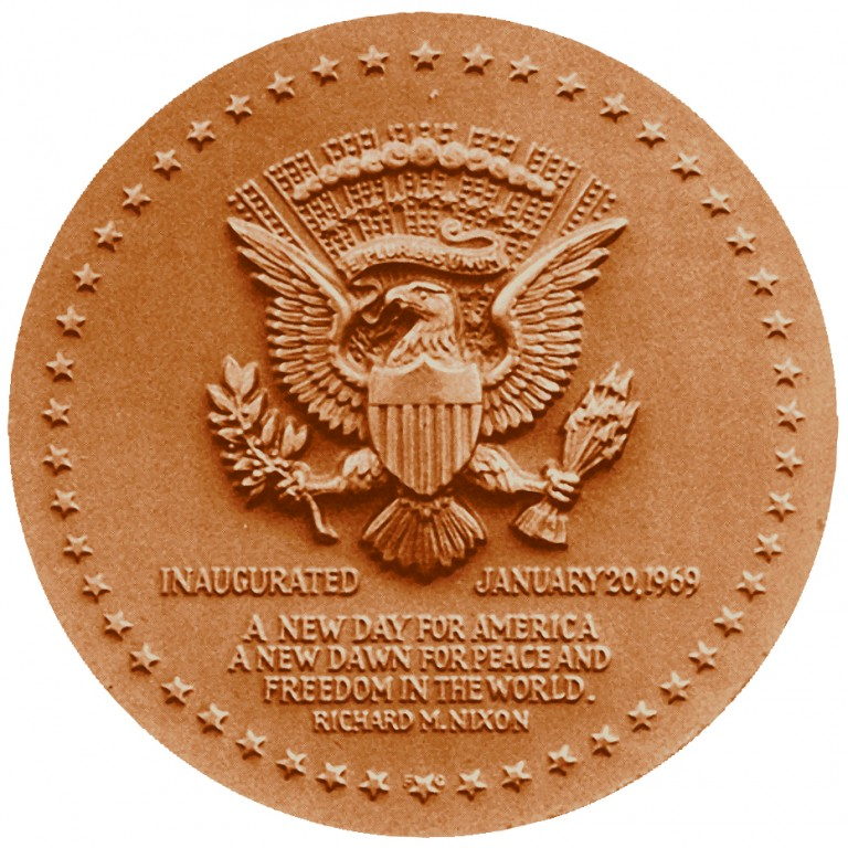 Richard M Nixon Term 1 Presidential Bronze Medal Reverse