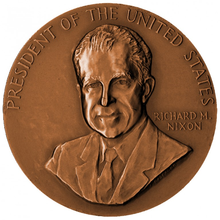 Richard M Nixon Term 2 Presidential Bronze Medal Obverse