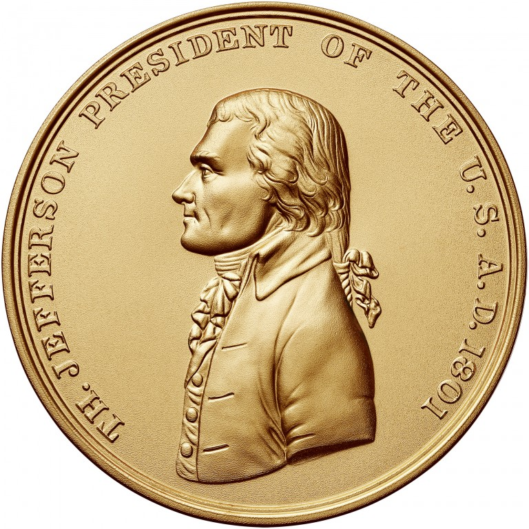 Thomas Jefferson Presidential Bronze Medal Three Inch Obverse