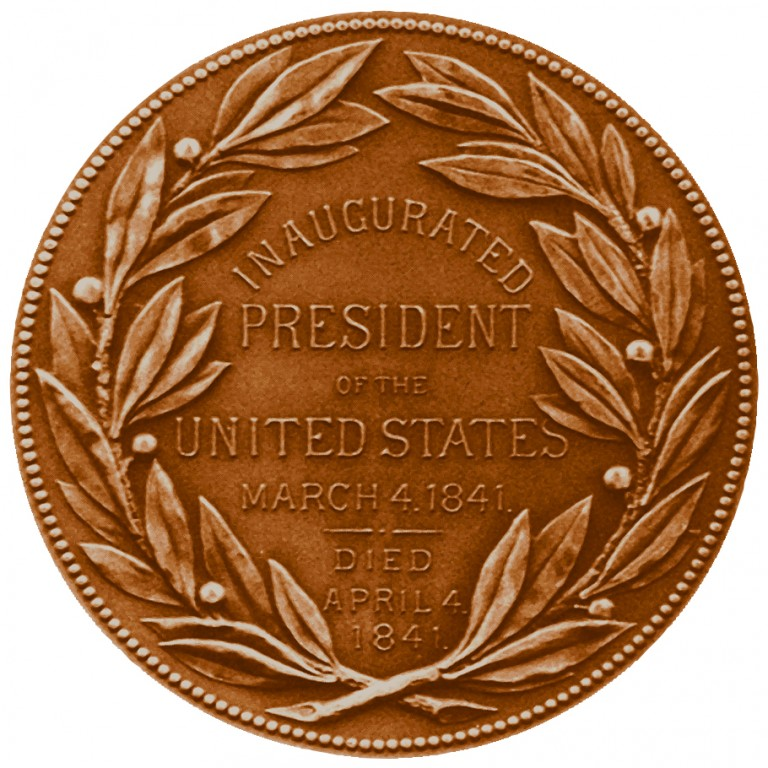William Henry Harrison Presidential Bronze Medal Reverse