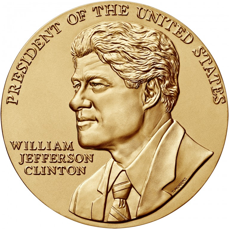 William J Clinton Term 1 Presidential Bronze Medal Three Inch Obverse