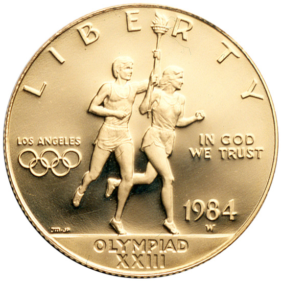 1984 Olympics Los Angeles Runners Commemorative Gold Ten Dollar Proof Obverse