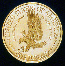 1986 Statue Of Liberty Commemorative Gold Five Dollar Proof Reverse