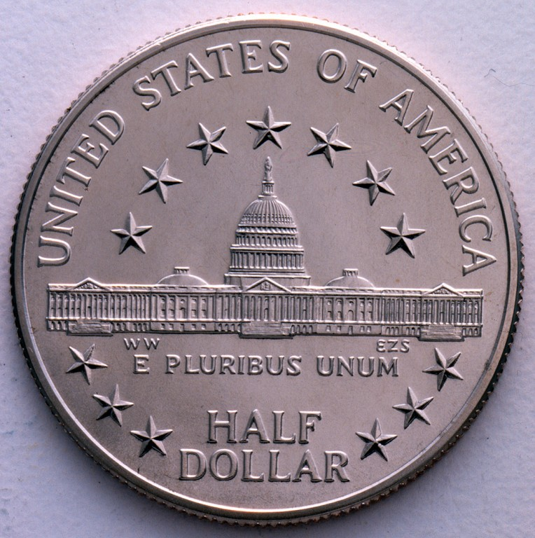 1989 Congress Bicentennial Commemorative Clad Half Dollar Proof Reverse