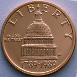 1989 Congress Bicentennial Commemorative Gold Five Dollar Proof Obverse