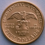 1989 Congress Bicentennial Commemorative Gold Five Dollar Proof Reverse