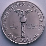 1989 Congress Bicentennial Commemorative Silver One Dollar Proof Reverse