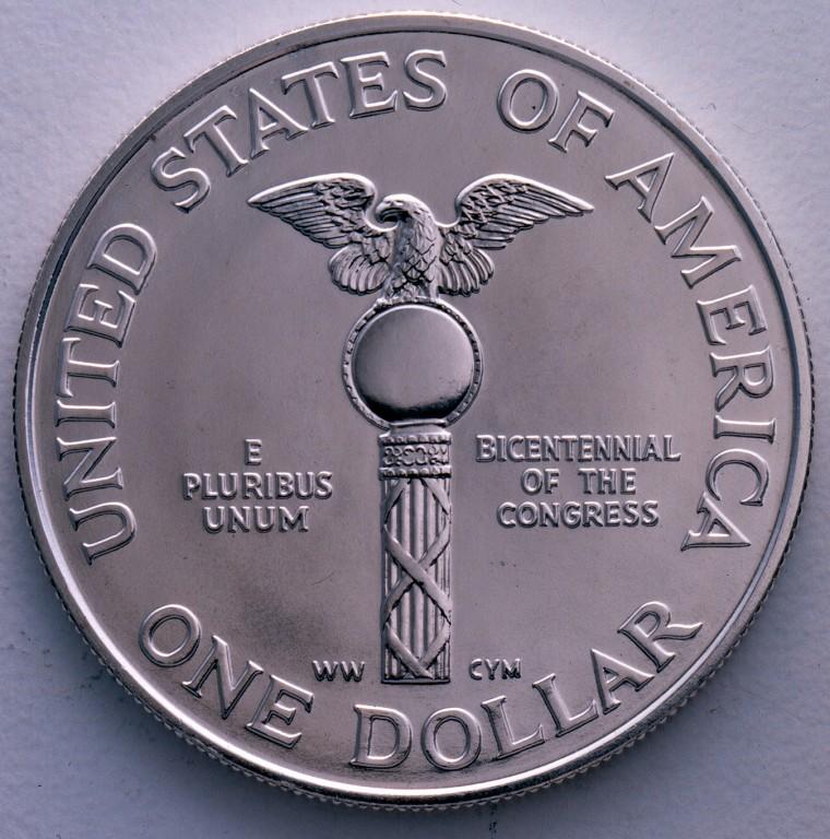 1989 Congress Bicentennial Commemorative Silver One Dollar Proof Reverse