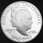 1990 Eisenhower Hundredth Anniversary Commemorative Silver One Dollar Proof Obverse